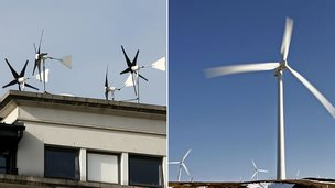 small and large wind turbines