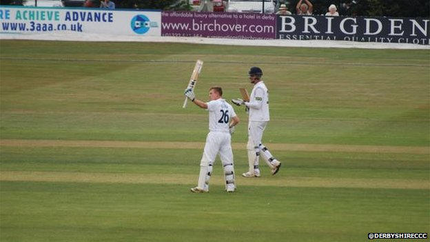 Ben Slater celebrates his maiden first-class century