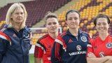 Scotland coach Anna Signeul with joins Joanne Love, goalkeeper Gemma Fay and Megan Sneddon