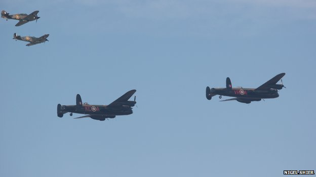 This shot of the Lancasters was captured by Nigel Shier as the aircraft flew over Waddington