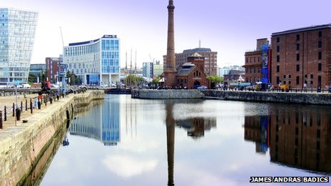 Old and modern architecture on the Albert Docks in Liverpool.