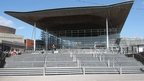Senedd building in Cardiff Bay