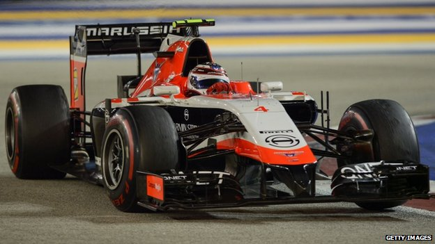 Marussia driver Max Chilton of Britain drives during the Formula One Singapore Grand Prix