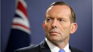 Australian Prime Minister Tony Abbott briefs media in Sydney, 19 Sept 2014