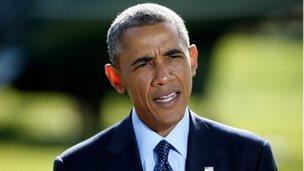 US President Barack Obama addresses reporters from the White House on 23 September
