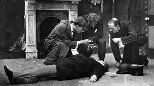 Still from A Study in Scarlet starring James Bragington as Sherlock Holmes