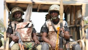 Nigerian soldiers ready for a patrol in the north of Borno state on 5 June  2013 in Maiduguri, Nigeria