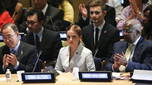 UN Women Goodwill Ambassador Emma Watson attends the HeForShe campaign launch at the United Nations in New York