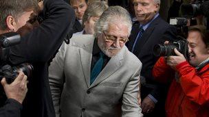 Dave Lee Travis leaves court