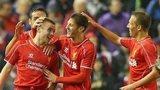 Jordan Rossiter celebrates with Liverpool team-mates