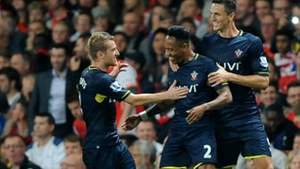 Nathaniel Clyne celebrates his winning goal against Arsenal