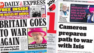 Composite image of Express and i front pages