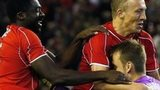 Liverpool celebrate their third round Capital One Cup win