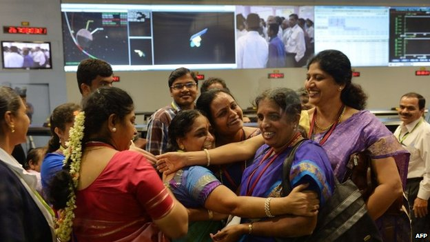 Staff from the Indian Space Research Organisation celebrate after the Mangalyaan probe's entry into orbit around Mars - 24 September 2014