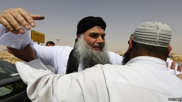 Abu Qatada after being released from prison