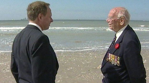 Nick Owen and his father Bertie on the beach at Dunkirk