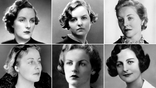 The Mitford sisters (clockwise from top left): Unity; Jessica; Diana; Nancy; Deborah; Pamela