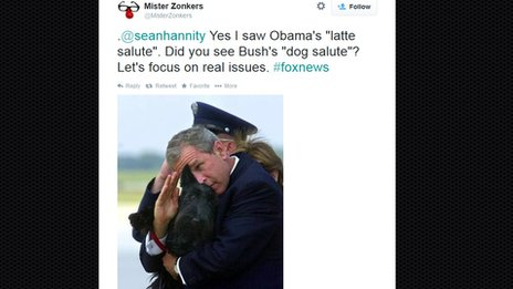 Tweet from Mr Zonkers with photo of George Bush holding a dog while saluting