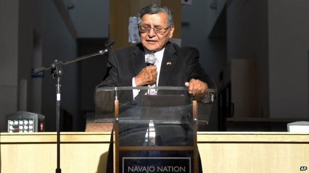 Navajo Nation President Ben Shelly speaks at the Navajo Nation Museum in Window Rock, Ariz. 14 August 2014