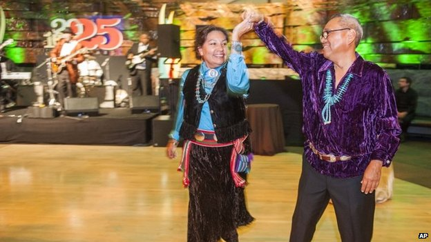 File photo: Attendees wearing traditional Navajo dress dance at the Smithsonian's National Museum of the American Indian 10th Anniversary Gala in Washington, 20 September 2014