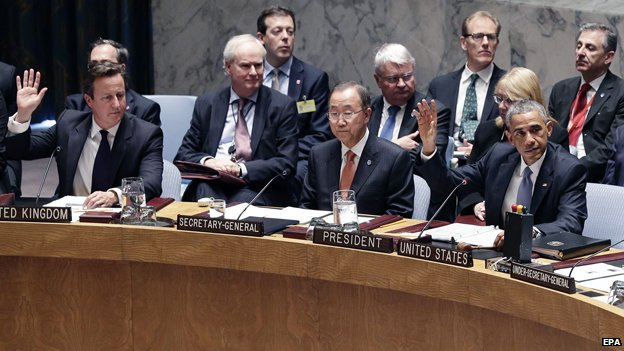 David Cameron, far left, and Barack Obama, far right, vote in a United Nations Security Council meeting