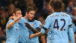 Manchester City midfielder Frank Lampard celebrates against Sheffield Wednesday
