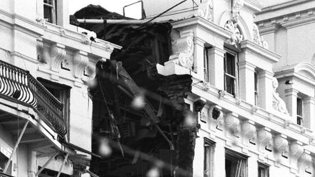 The Grand Hotel in Brighton after the 1984 IRA bomb at the Tory Party conference.