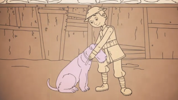 Cartoon soldier with a dog in the trenches