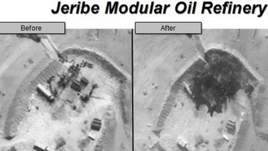 Before and after aerial pictures released by the U.S. Department of Defense September 25, 2014, show damage to the Jeribe Modular Oil Refinery in Syria following air strikes by U.S. and coalition forces