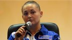 """Russia""""s cosmonaut Yelena Serova attends a press conference at the Russian-leased Baikonur cosmodrome on September 24, 2014."""