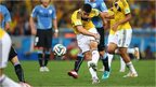 Columbia's James Rodriguez scores a stunning volley against Uruguay during the 2014 World Cup in Brazil