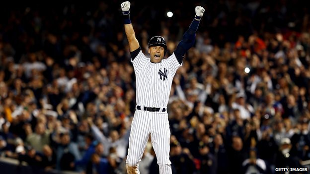 Derek Jeter celebrates his game-winning hit.