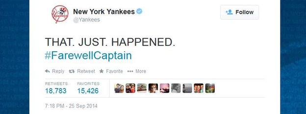 A tweet from the official New York Yankees handle.