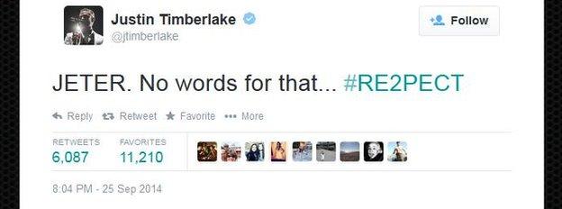 A tweet from singer Justin Timberlake.