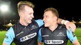 Stuart Hogg and Duncan Weir celebrate Glasgow Warriors' victory