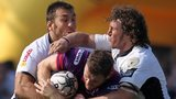 Craig Gilroy is tackled by Zebre duo Mauro Bergamasco and Quintin Geldenhuys