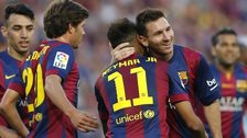 Barcelona's Lionel Messi celebrates 400th career goal