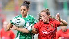 Fermanagh's Aishling Moane battles with Down's Niamh McGowan in the All-Ireland Ladies Intermediate Football final