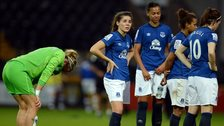 Everton's players react after suffering relegation