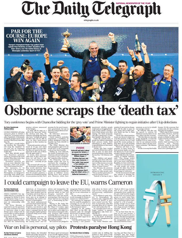 Daily Telegraph front