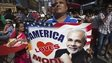 Supporter holds America Loves Modi sign in Times Square, New York. 28 Sept 2014