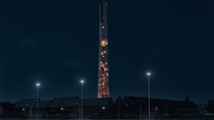 Demo of a lit up Northampton lift tower