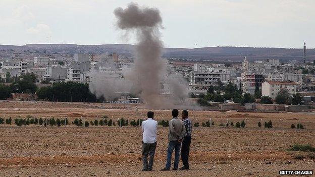 Smoke rises from a residential area near the Syrian Kurdish town of Kobane (29 September 2014)