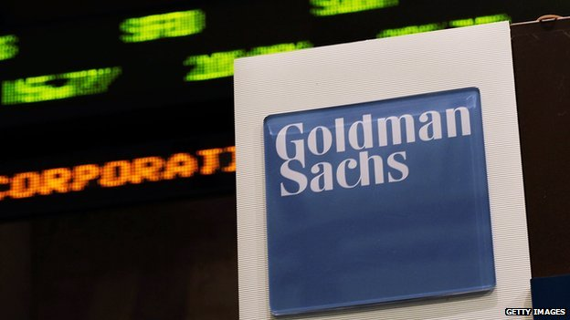 A sign near the Goldman Sachs booth on the floor of the New York Stock exchange.