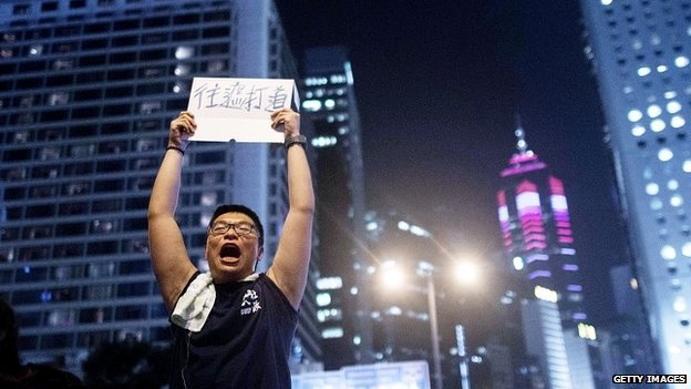A protester shouts slogans in the Central district of Hong Kong - 29 September 2014