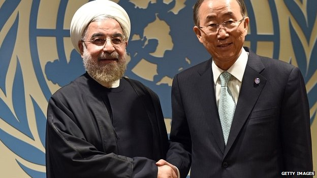 UN chief Ban Ki-moon with Iranian President Hassan Rouhani at the United Nations - 23 September 2014