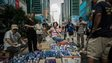 Supporters of pro-democracy demonstrators provide free drinking water in the Mongkok district of Hong Kong on 30 September 2014