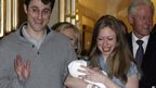 Marc Mezvinsky, Chelsea Clinton with baby Charlotte, Bill and Hillary Clinton