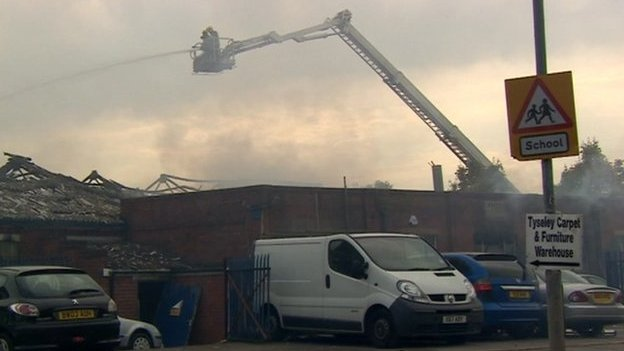 Firefighters tackle a blaze in Tyseley