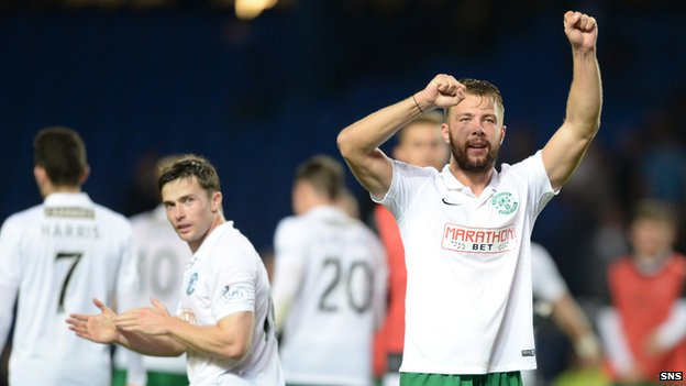 Hibs' Jordon Forster celebrates at Ibrox